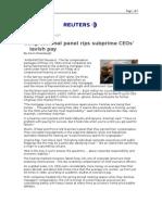 03-07-08 Reuters-Congressional Panel Rips Subprime CEOs' Lav