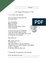 ficha de língua portuguesa - Carnaval