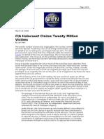 03-16-08 OEN-CIA Holocaust Claims Twenty Million Victims by