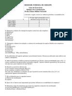 Lista de Exercícios 1 - Química de Coordenação