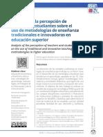 Analítica de la percepción de docentes y estudiantes sobre el uso de metodologías de enseñanza tradicionales e innovadoras en educación superior