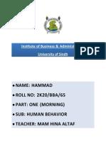 65 HAMMAD BBA 2k20 Human Behavior.