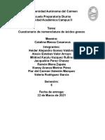 cuestionario de nomenclatura de acidos grasos