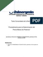 Texto actualizado del Procedimiento para Determinación del Precio Basico Potencia