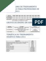 CRONOGRAMA DE TREINAMENTO EM SERVIÇO PARA PROFESSORES DE ESTACA