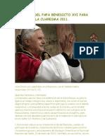 Mensaje Del Papa Benedicto Xvi Para La Cuaresma 2011