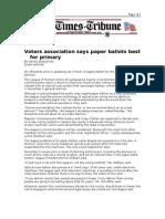 01-29-08 Times-Tribune-Voters Association Says Paper Ballots