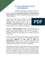HISTORIA DE LAS MATRICES Y DE LOS DETERMINANTES