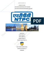 A Project on Production and Operation in NTPC