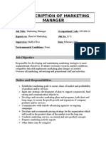JOB DESCRIPTION OF MARKETING MANAGER