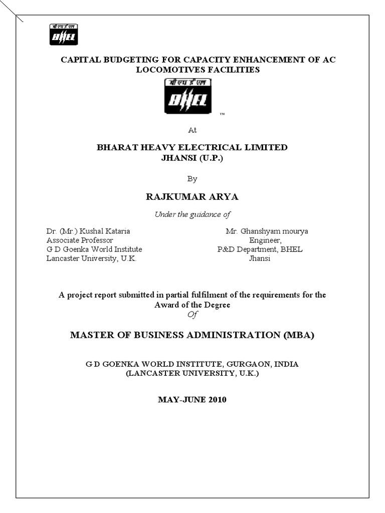bhel capital budgeting project internal rate of return transformer