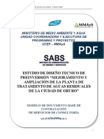 """Estudio de Diseño Tecnico de Preinversión """"Mejoramiento y Ampliación de La Planta de Tratamiento de Aguas Residuales de La Ciudad de Oruro"""