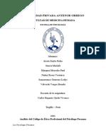 Análisis Del Código de Ética Profesional Del Psicólogo Peruano