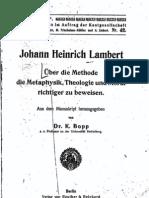 Lambert, Ueber die Methode, Die Metaphysik, Thelogie und Moral richtiger zu beweisen