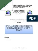 L'examen microscopique des bactéries à l'état frais (1)