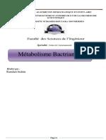Métabolisme bactirian M1 MEV19