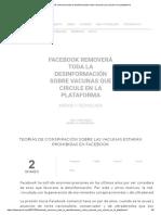 Facebook removerá toda la desinformación sobre vacunas que circule en la plataforma