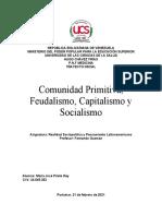 Comunidad Primitiva, feudalismo, capitalismo y socialismo