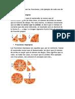 fracciones y ejemplos trabajo de matematica de emiliano