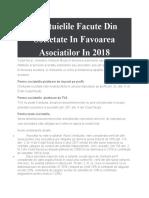 Cheltuielile Facute Din Societate In Favoarea Asociatilor In 2018