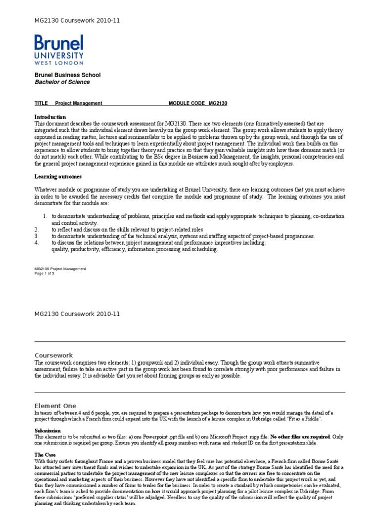 coursework project management