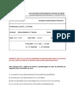 taynara teixeira - Primeira prova bimestral - Administração Financeira I