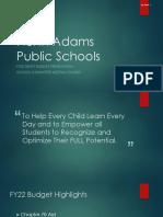 North Adams School FY22 Budget presentation