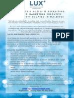 Sales and Marketing Executive AD 4 MAY