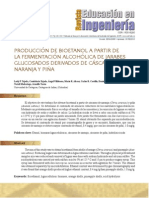 Produccion de bioetanol a partir de la fermentación alcoholica de jarbes glucosados derivados de cascaras de naranja y piña.