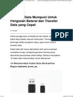 10 Kabel Data Mumpuni Untuk Pengisian Baterai dan Transfer Data yang Cepat