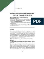 Esperanza de Vida de los Colombianos, con y sin Violencia. 1994 - 1996