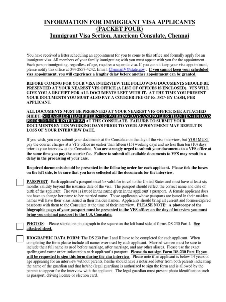 Information for IV applicants   Travel Visa   Permanent