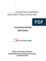 approval of electrical equipment (electricity regulations 1994) ( info booklet 2005)