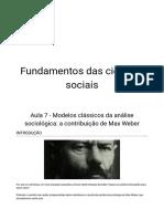 Aula 07 - A Contribuição de Max Weber