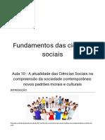Aula 10 - A Atualidade Das Ciências Sociais