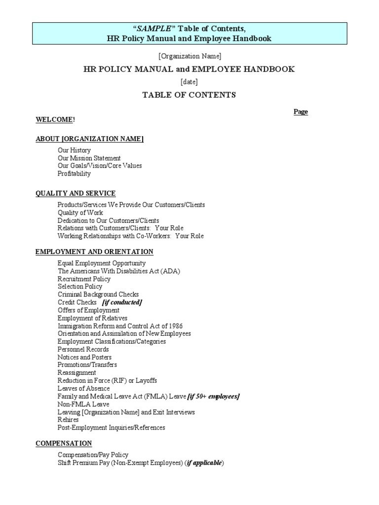 SAMPLE Table Of Contents HR Policy Manual And Employee Handbook | Payroll |  Employment