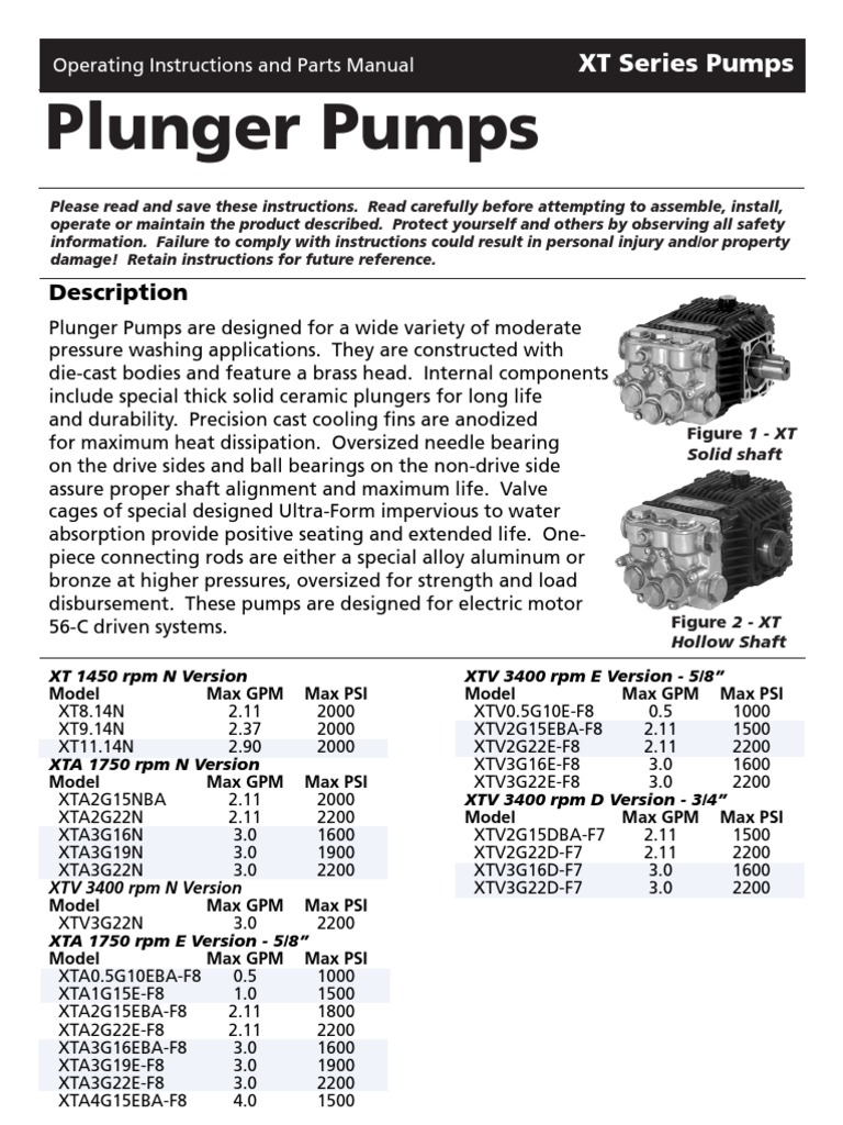 Annovi Reverberi XTV-2 1 Operating & Parts Manual   Pump   Valve