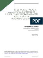 """Cordeiro, J. (2016). Do Golpe de 1964 Ao """"Milagre Brasileiro"""" - A Campanha Da Mulher Pela Democracia (CAMDE). Ação Política e Imaginário Coletivo"""