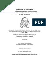 Eficacia de La Aplicacióin de Los Objetivos Del Convenio Sobre La Diversidad Biologica en Las Areas Naturales Protegidas de El Salvador