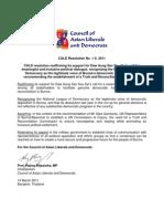 CALD Resolution No.1 S.2011