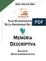 Memoria Descriptiva Bloque 21 (Edificio Administrativo)