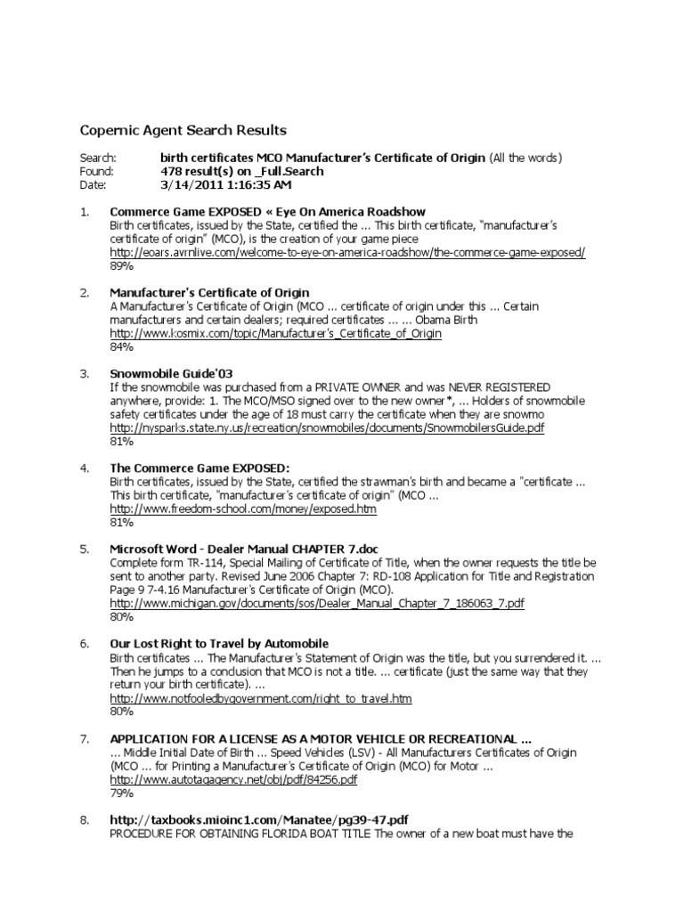 Birth certificates mco manufacturers certificate of origin aiddatafo Choice Image