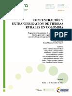Concentración y Extranjerización de Tierras Rurales en Colombia Comparación