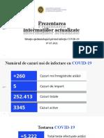 Raportul COVID-19 privind Situația Epidemiologică la 7 mai 2021 (ora 17:00):