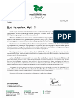 Mehbooba Mufti's letter to PM Narendra Modi