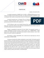 Comunicado ACT OAB-DF