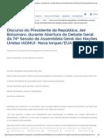 Discurso do Presidente Bolsonaro na ONU (2019)