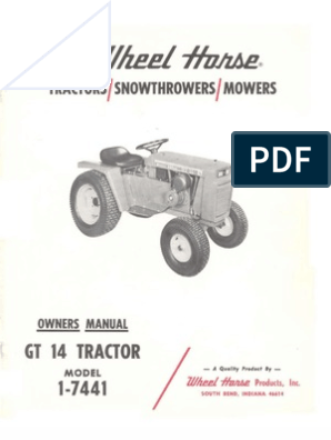 WheelHorse GT14 owners Manual 1-7441 | Tractor