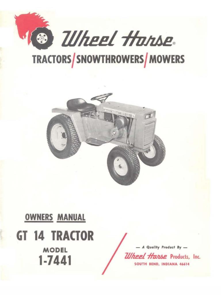 wheelhorse gt14 owners manual 1 7441 tractor transmissionwheelhorse gt14 owners manual 1 7441 tractor transmission (mechanics)