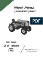 WheelHorse GT 14 Parts Manual 1-7451_A-5260